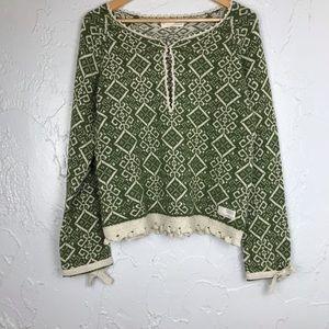 Odd Molly Aztec Pullover Sweater Green M